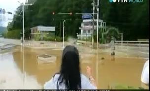 צפו: שיטפונות ענק בדרום קוריאה